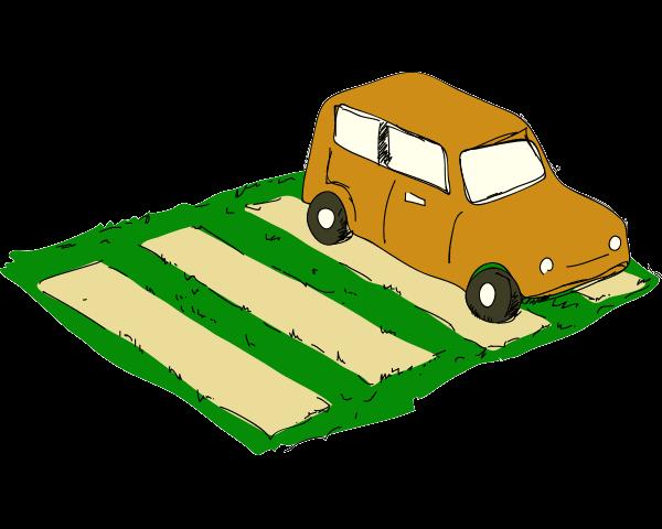 駐車スペースに芝生を取り入れる